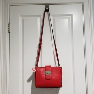 NWT DSW red crossbody faux leather